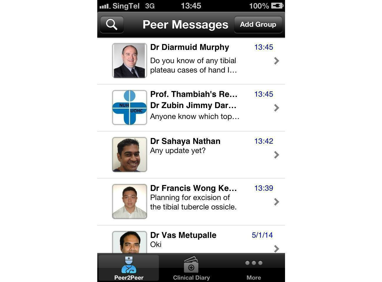 Figure 1. Screenshot of the personal messages user interface.