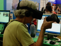 Elderly woman using virtual reality. Source: Image created by the Authors; Copyright: The Authors; URL: http://mental.jmir.org/2018/3/e55/; License: Licensed by JMIR.