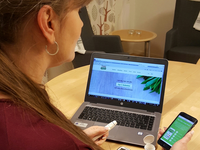 Woman with different digital health services supporting diabetes self-management. Source: Image created by the Authors; Copyright: Ulrika Öberg; URL: http://diabetes.jmir.org/2018/1/e7/; License: Creative Commons Attribution (CC-BY).