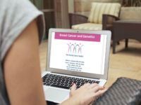 Participant exploring a module of the Family Gene Toolkit (montage). Source: The Authors / Smartmockups.com; Copyright: JMIR Publications; URL: http://cancer.jmir.org/2018/1/e7/; License: Creative Commons Attribution (CC-BY).