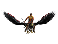 The user's character riding te Hokioi, a giant eagle, within the SPARX program. Source: Image created by the Authors; Copyright: The Authors; URL: http://games.jmir.org/2018/3/e13/; License: Licensed by the authors.