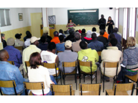 HIV-prevention seminar with Sub Saharan African migrants in Spain (2007). Source: Image created by the authors; Copyright: The authors; License: Creative Commons Attribution + Noncommercial + NoDerivatives (CC-BY-NC-ND).