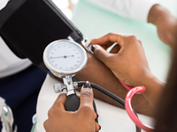 Nurse taking patient blood pressure. Source: iStock by Getty Images; Copyright: AndreyPopov; URL: https://www.istockphoto.com/ca/photo/doctor-measuring-patients-blood-pressure-gm600414086-103273631; License: Licensed by the authors.